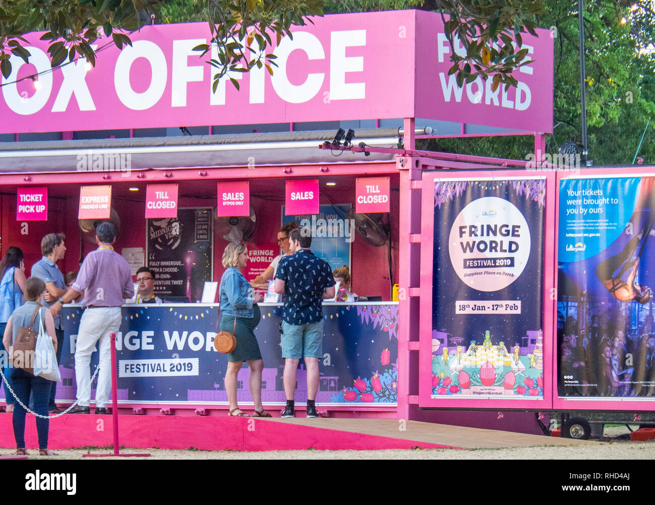Pop up box office at Fringe World Festival Russell Square Northbridge Perth WA Australia. Stock Photo