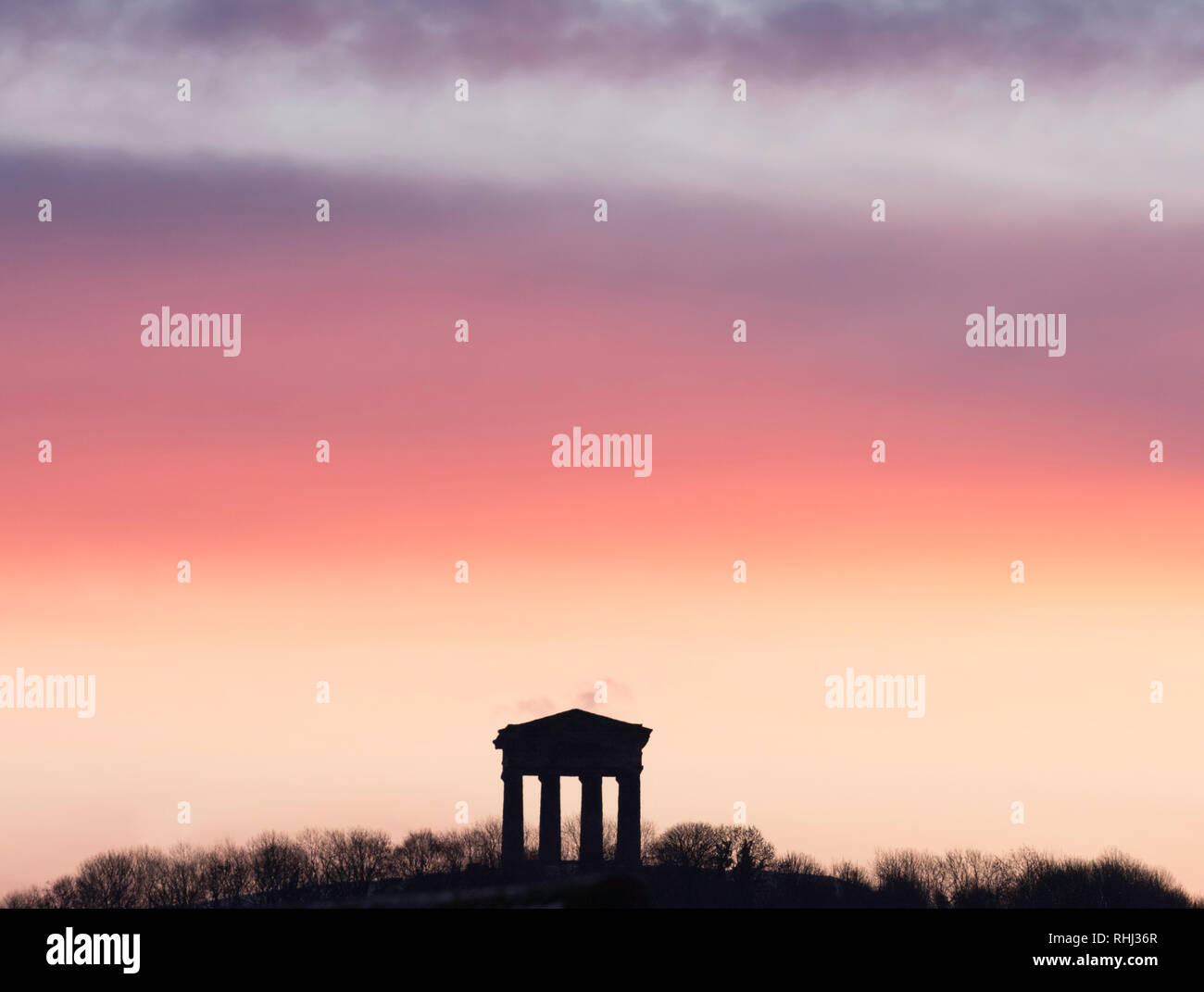 penshaw-uk-3rd-february-2019-red-sky-and