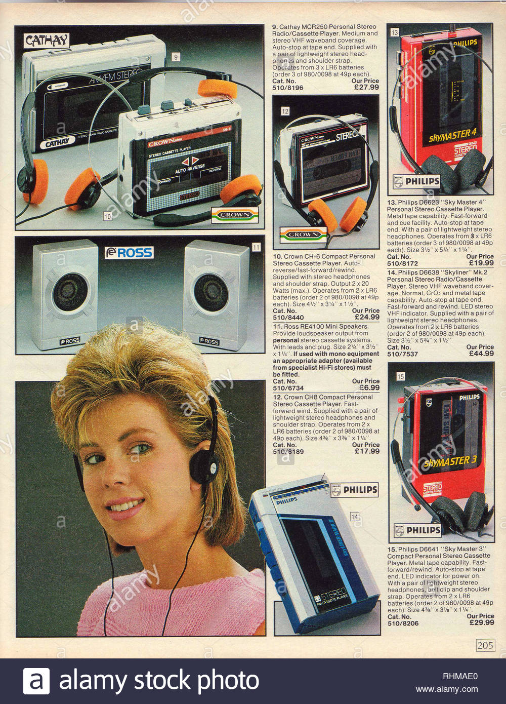 Vintage Personal Radio Cassette player, Argos Catalogue items from 1985 Stock Photo