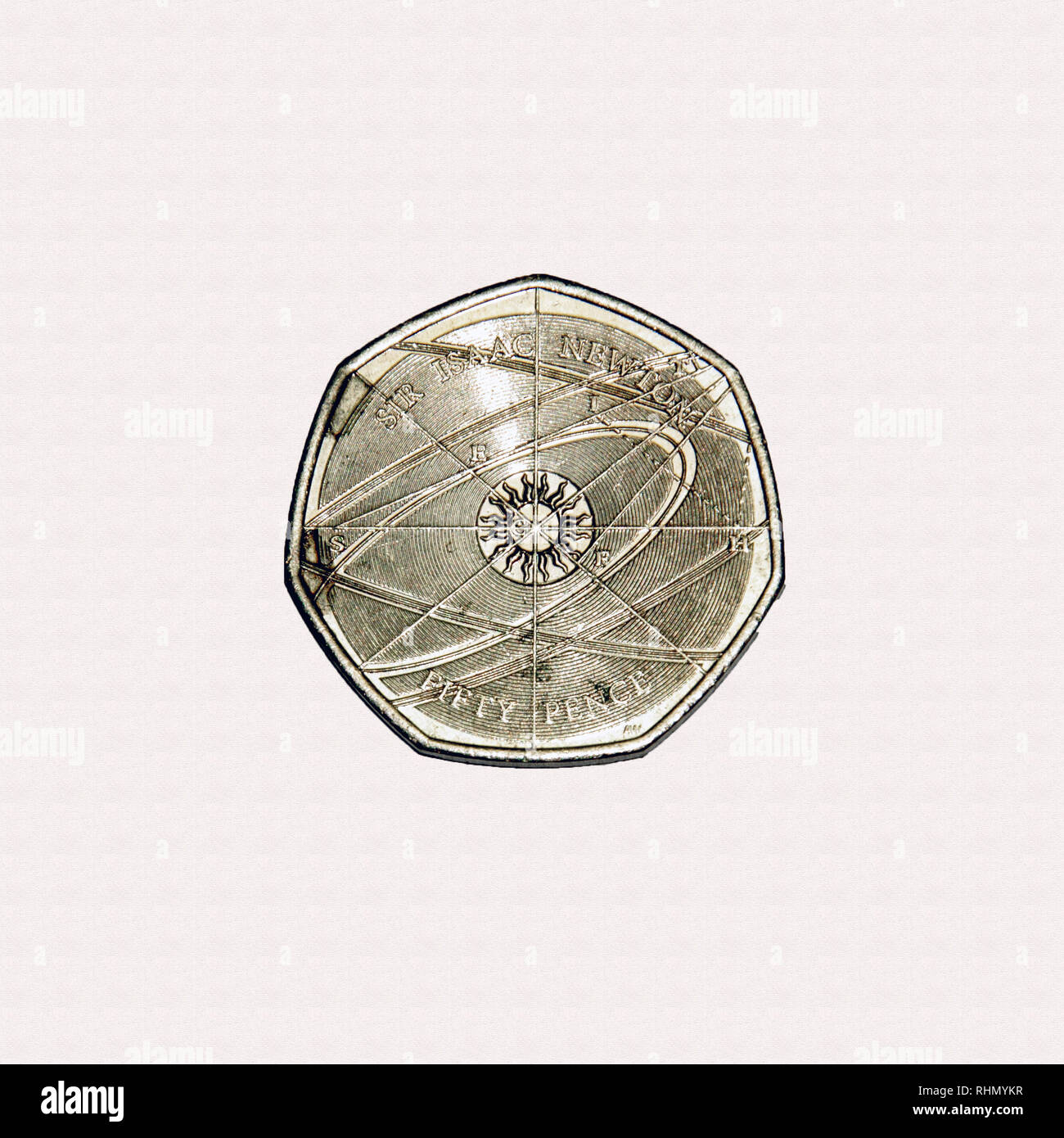 Limited edition British 50p piece coin commemorating Sir Isaac Newton the influential scientist Stock Photo