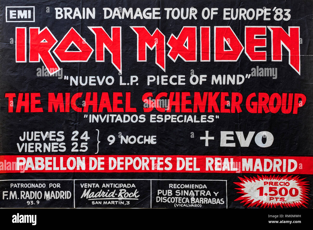 Iron Maiden, Piece of Mind promo album and tour 1983 Madrid, Musical concert poster Stock Photo