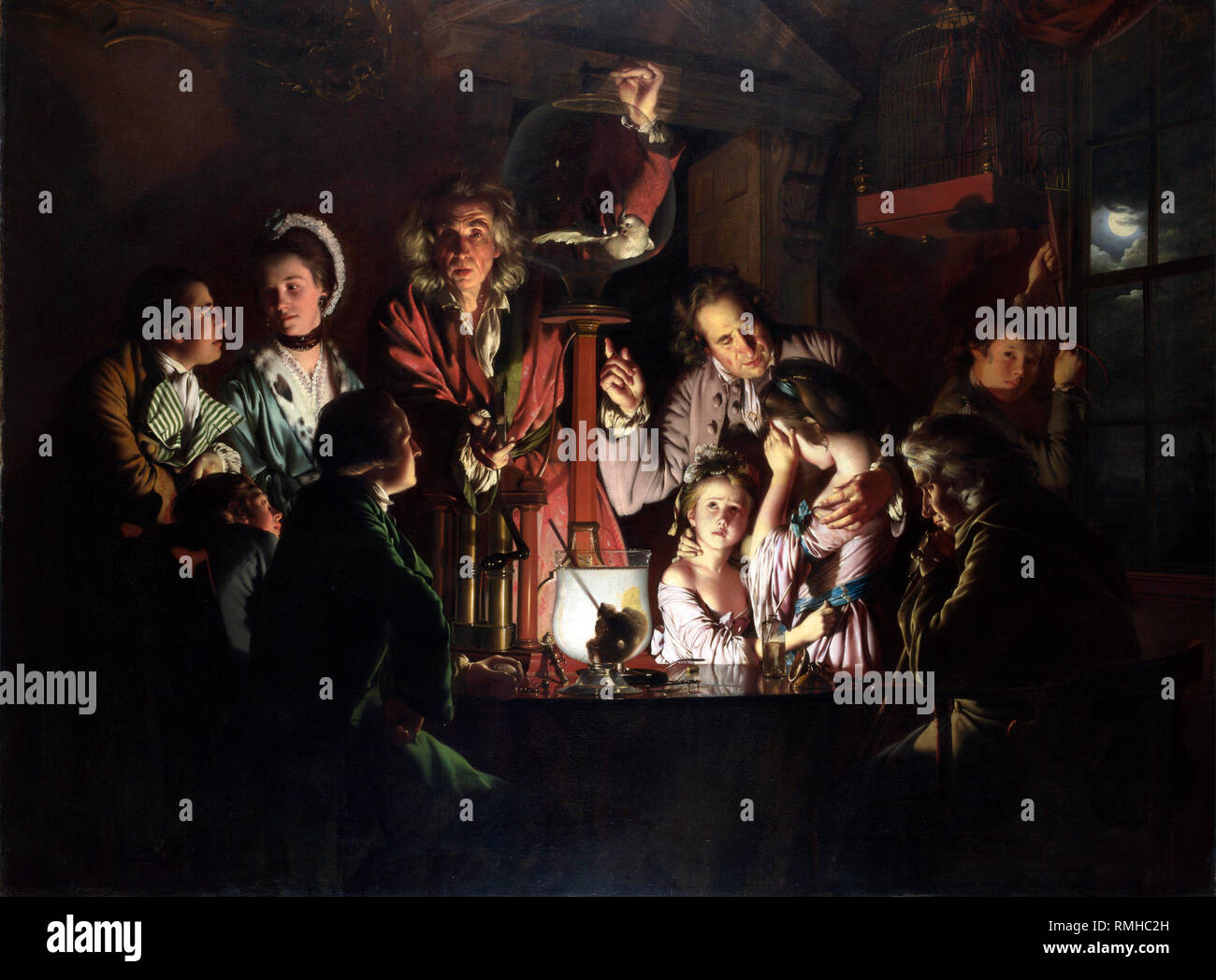 An Experiment on a Bird in an Air Pump by Joseph Wright of Derby, 1768 Stock Photo