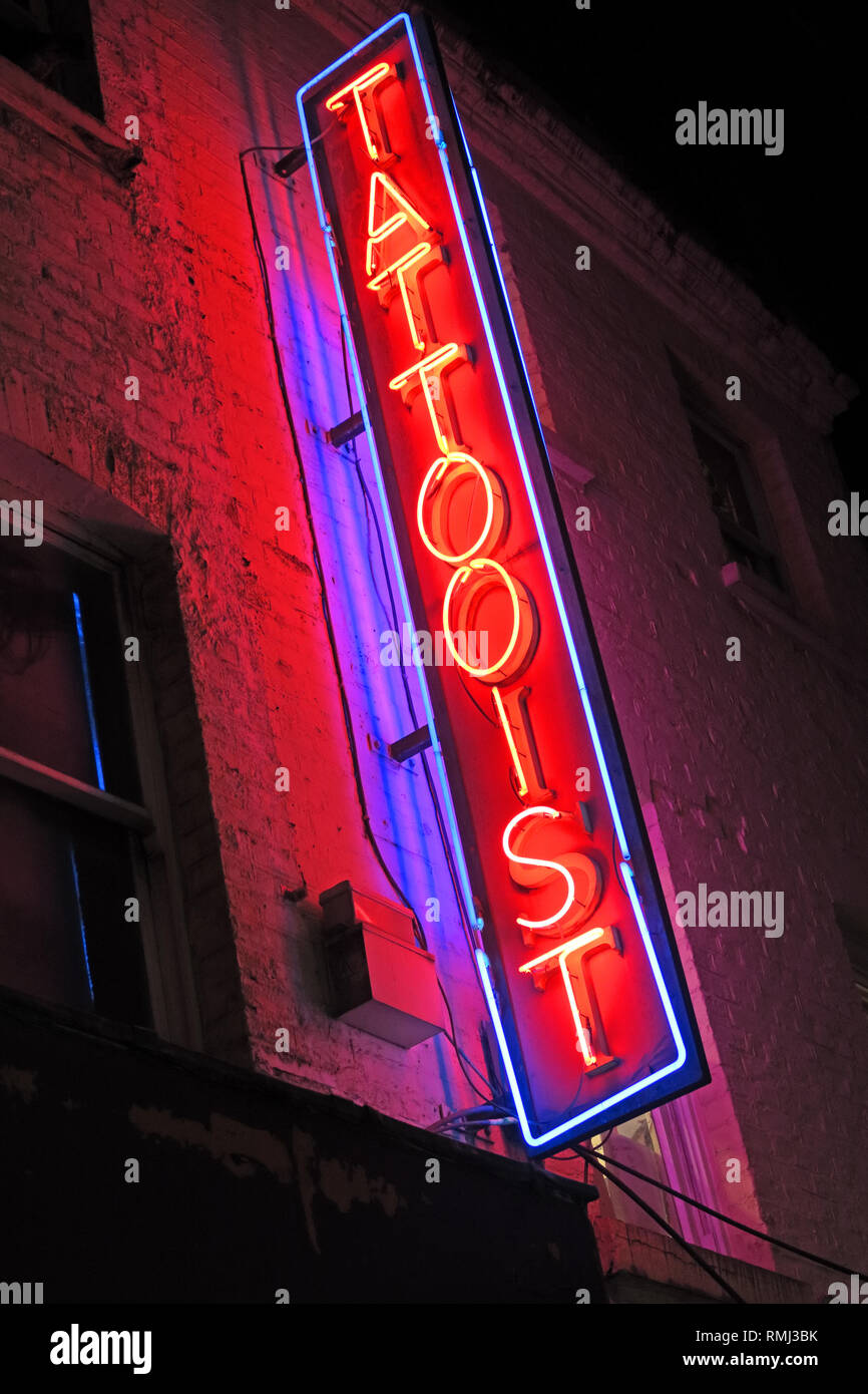 @HotpixUK,HotpixUK,GoTonySmith,England,UK,Neon,lights,night,sign,advert,bright,lighting,SoHo,South East England,City Centre,City,tourist,tourism,travel,neon sign,neon signs,evening,night time,music,shady,blue,shop,ink,skin,SoHo backstreet tattooist,SoHo back street tattooist,seedy,dirty