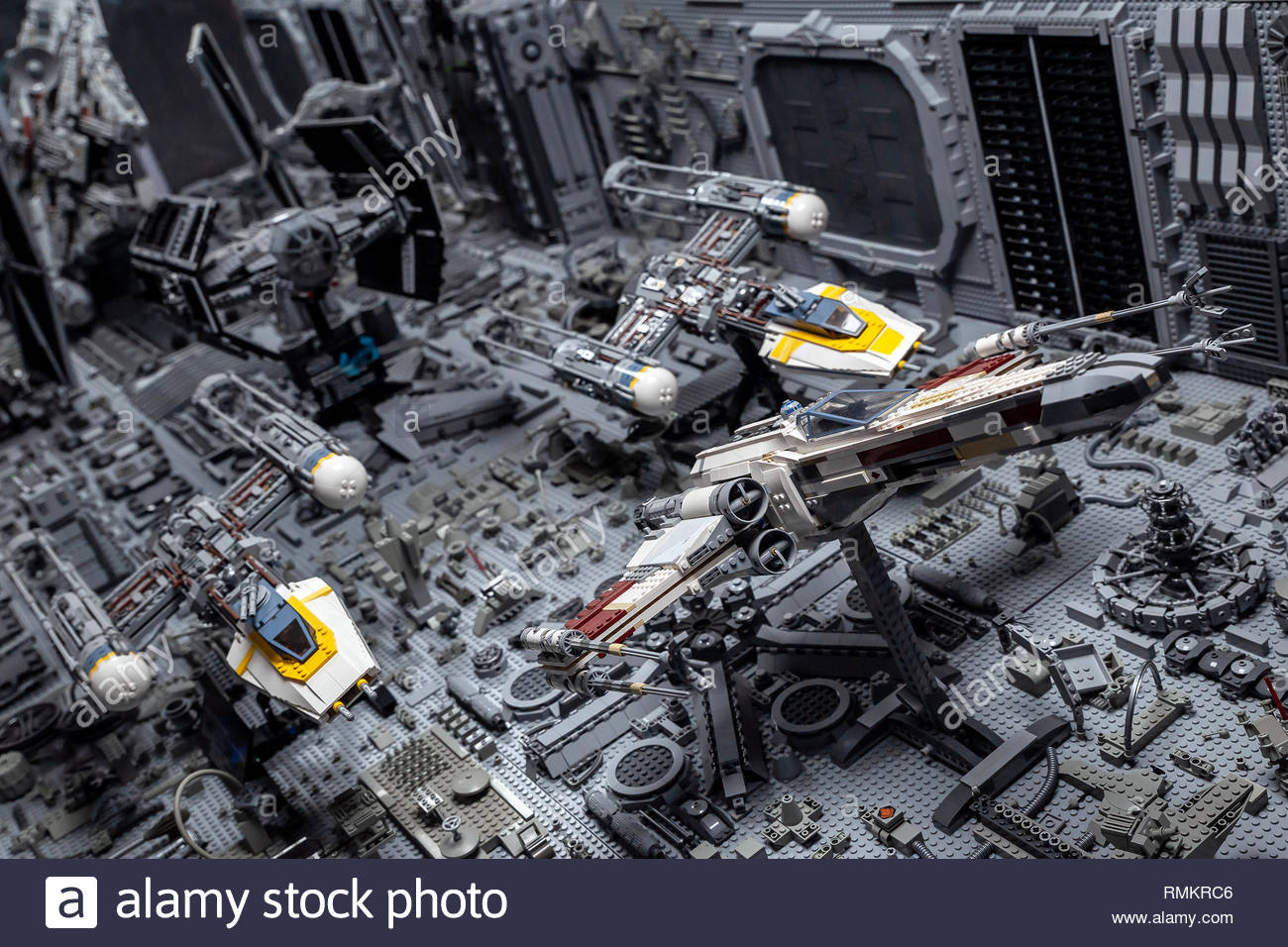 "LEGO STAR WARS exhibition - Pursuit in the trenches of the Death Star (episode 4 ""A New Hope"") Stock Photo"