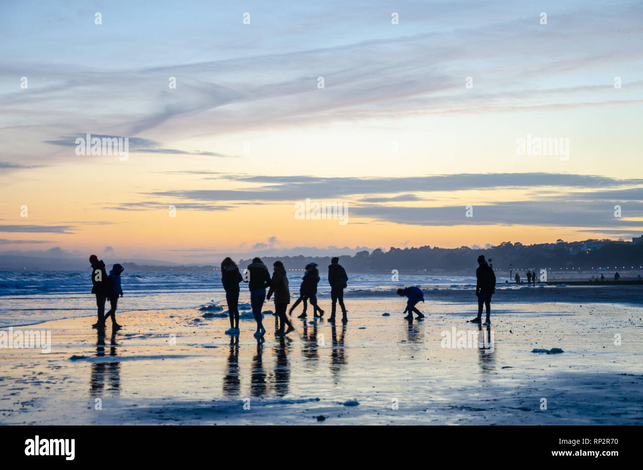 Bournemouth, UK. 20th Feb, 2019: UK Weather - A sunset at the beach at Bournemouth. Matthew Ashmore/Alamy Live News Stock Photo