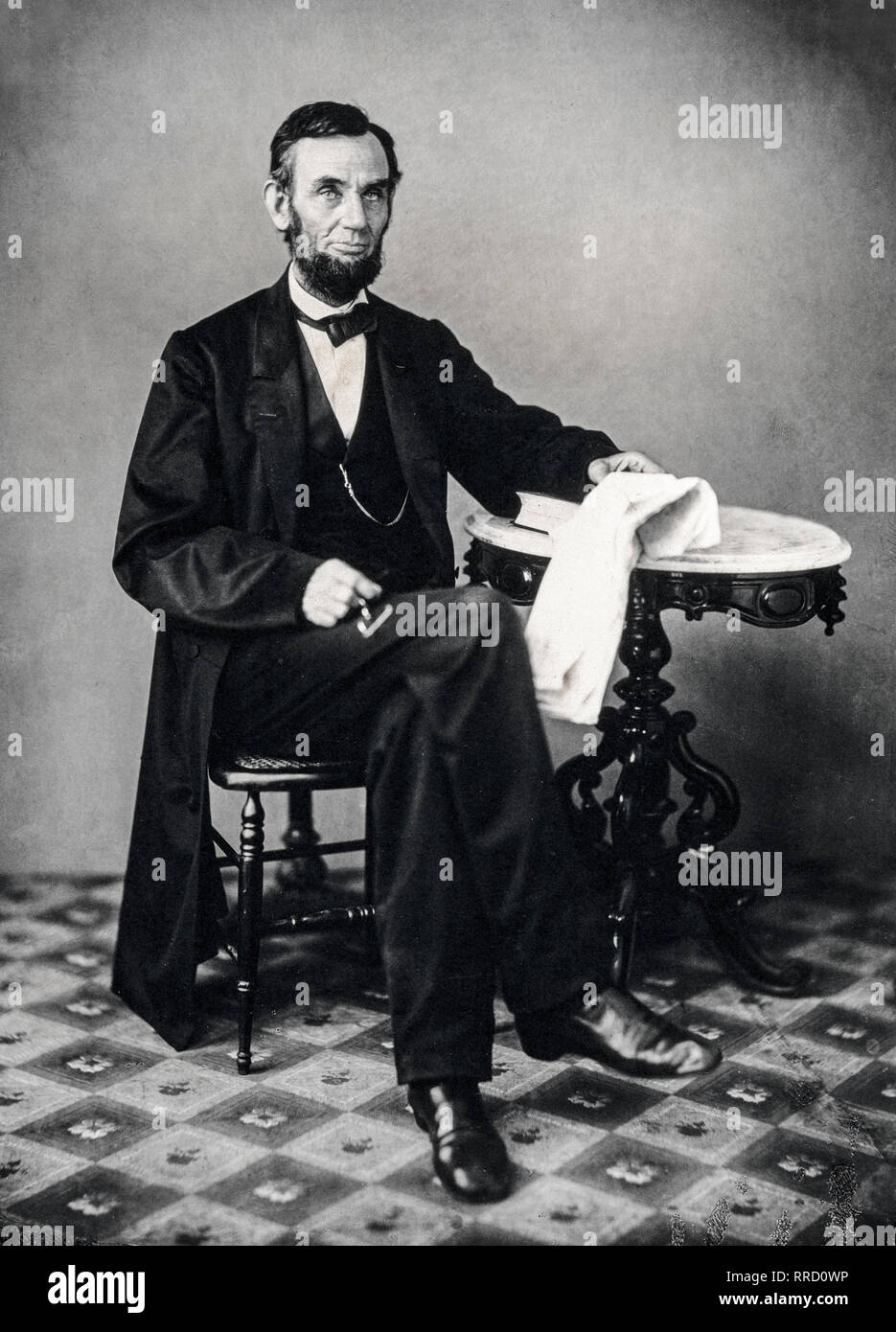 Abraham Lincoln, portrait photograph, Alexander Gardner, 1863 Stock Photo