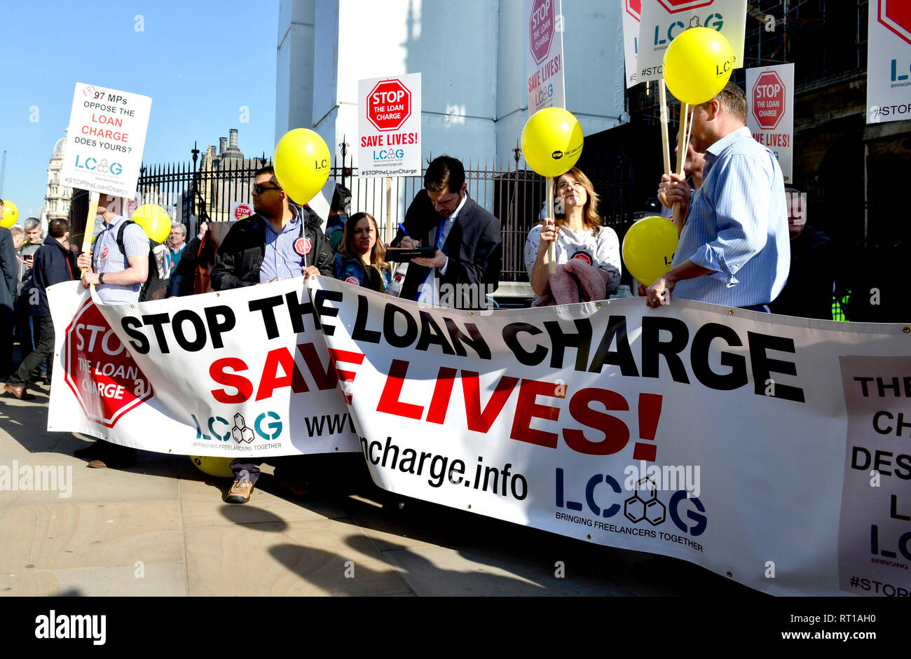 London, 27th Feb. The Loan Charge Action Group - formed to raise awareness of the retrospective tax charge introduced by HM Government in the 2017 Budget demonstrates outside Parliament Credit: PjrNews Stock Photo
