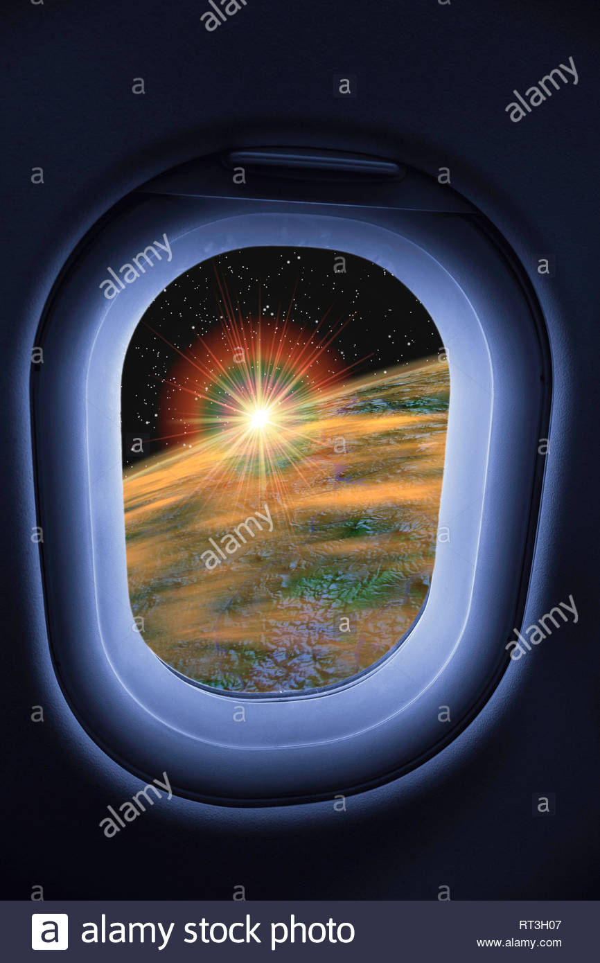 Concept of sunrise earth from the window of a commercial spaceflight space tourism world space flight travel future technology view high Stock Photo