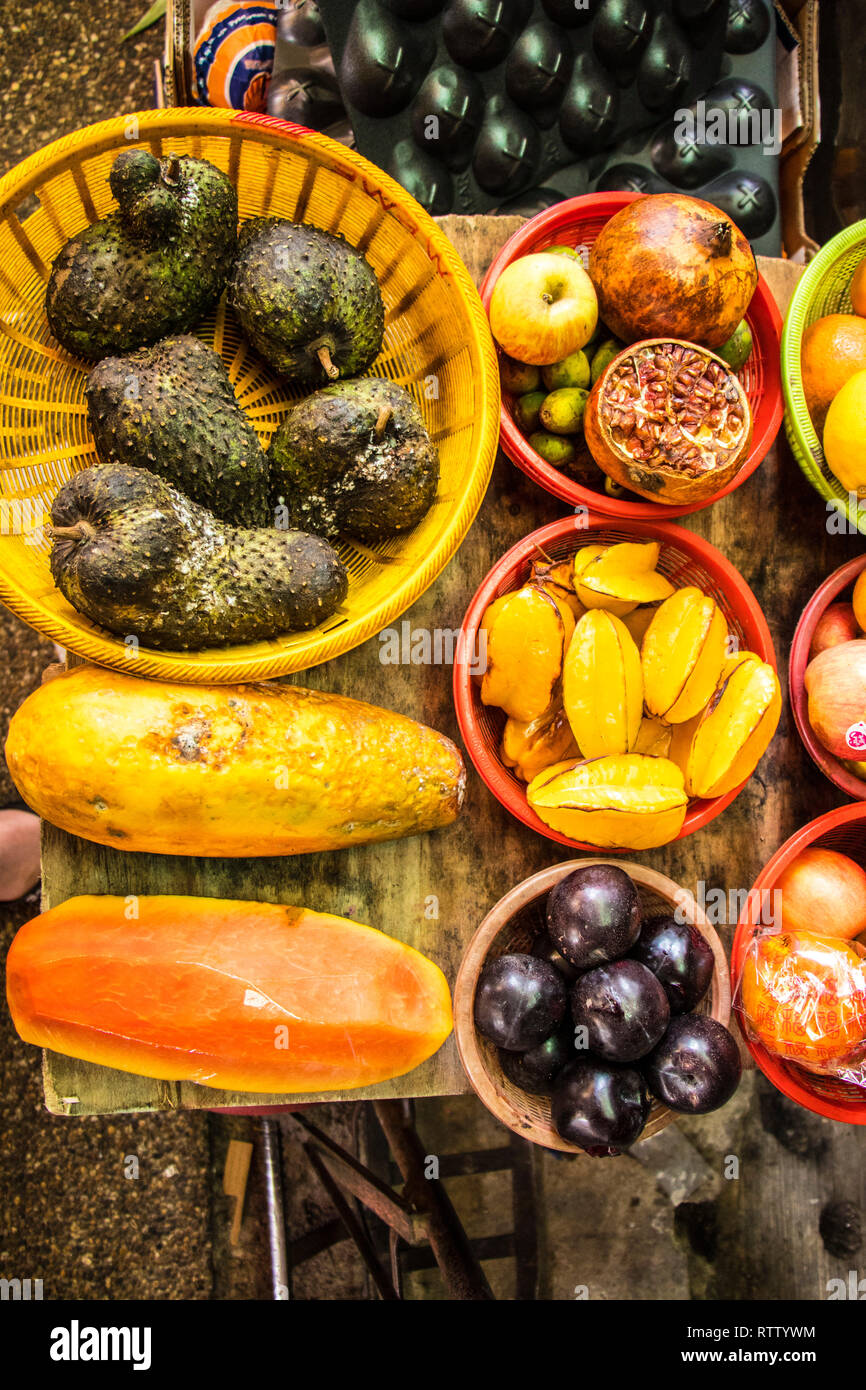 fruit and vegetable stall in Chow Kit Market, Chinatown, Kuala Lumpur, Malaysia Stock Photo