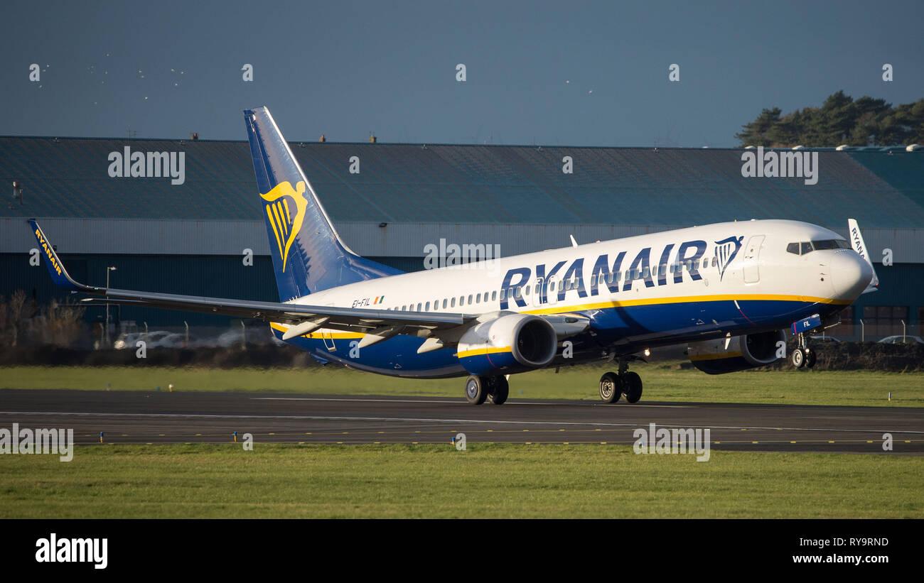 Prestwick, UK. 7 March 2019. Ryanair Flight Boeing 737-8AS (Reg: EI-FIL) departing Prestwick International Airport. This aircraft is a next generation Stock Photo