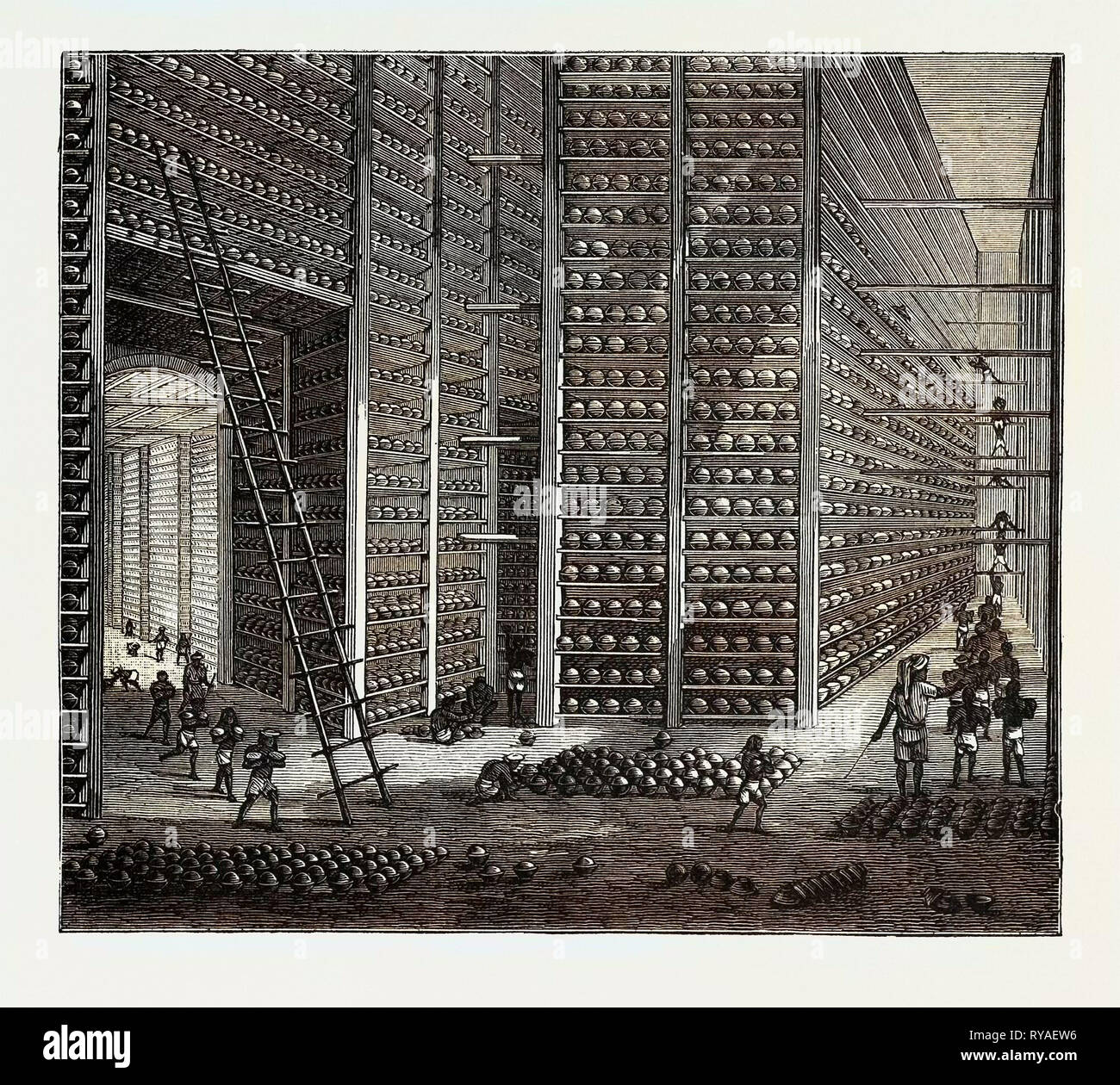 The Indo-Chinese Opium Trade, at an Opium Factory at Patna: The Stacking Room Stock Photo