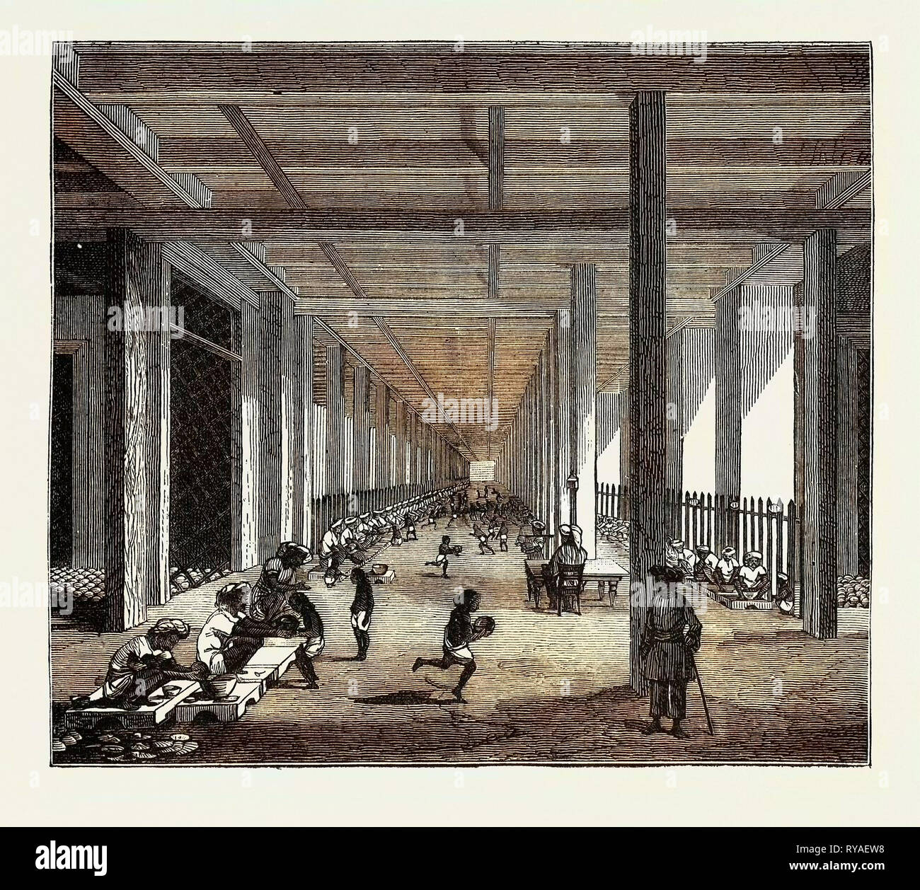 The Indo-Chinese Opium Trade, at an Opium Factory at Patna: The Balling Room Stock Photo
