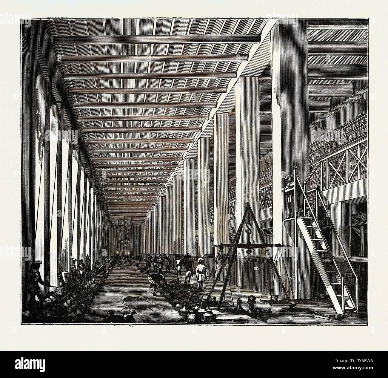 The Indo-Chinese Opium Trade, at an Opium Factory at Patna: The Examining Hall Stock Photo