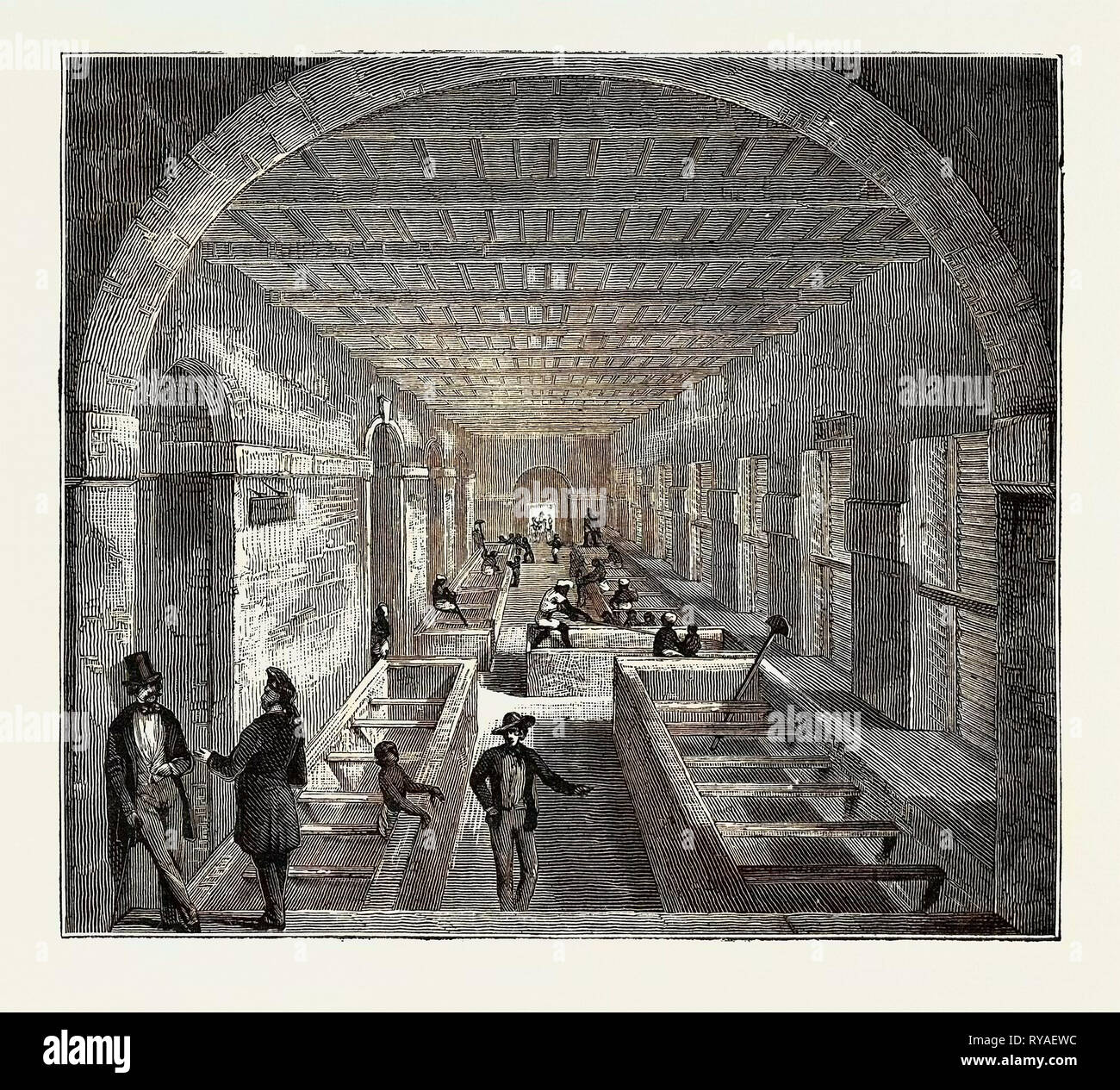 The Indo-Chinese Opium Trade, at an Opium Factory at Patna: The Mixing Room Stock Photo