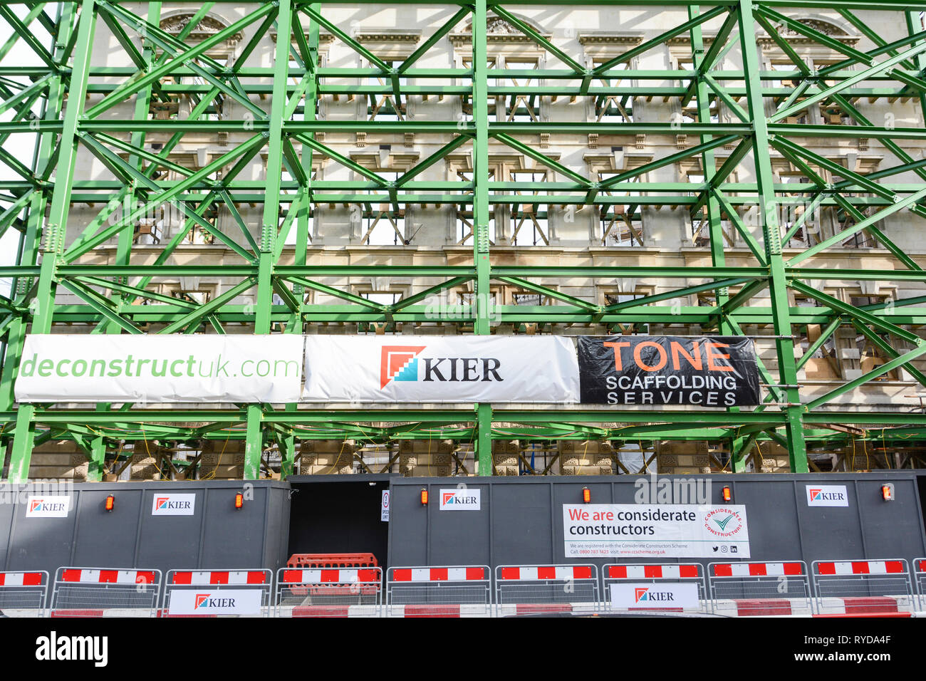 Kier Group plc construction and scaffolding outside the Nuffield Health private patients facility at St Bartholomew's Hospital, London, UK Stock Photo