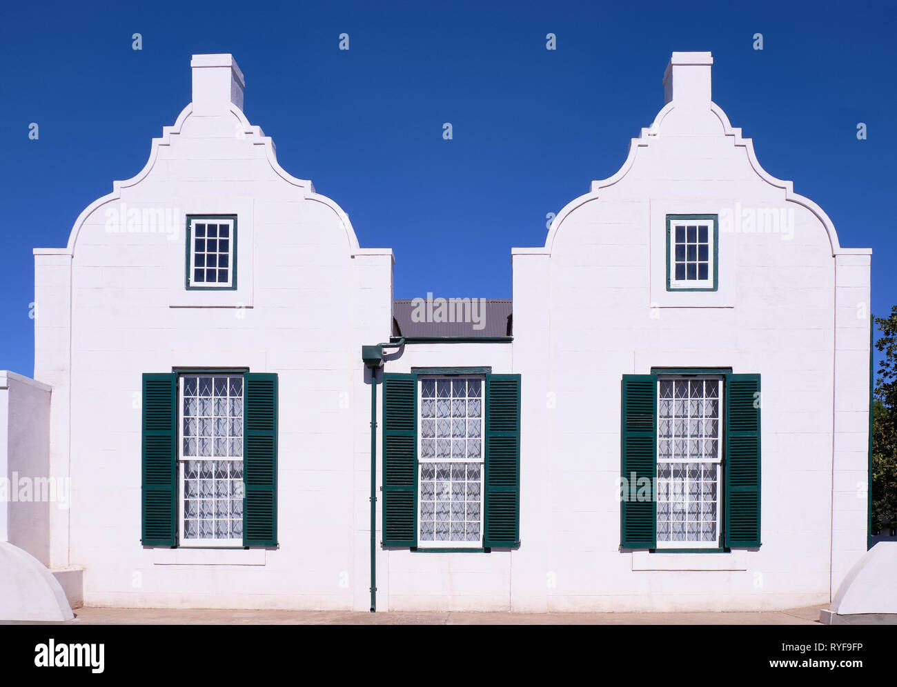 Typical Cape Dutch architecture facade in the Karoo of South Africa Stock Photo