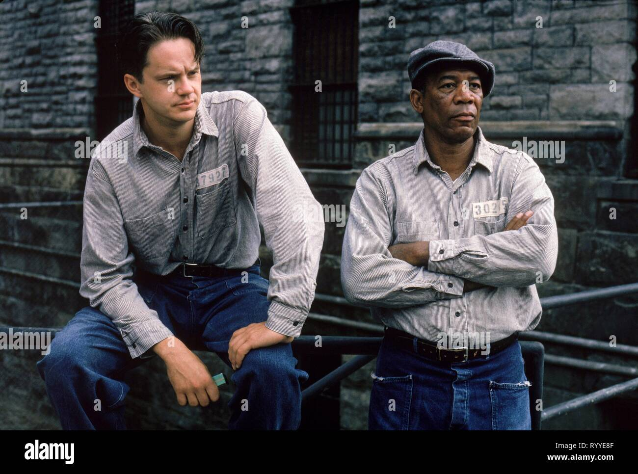 ROBBINS,FREEMAN, THE SHAWSHANK REDEMPTION, 1994 Stock Photo
