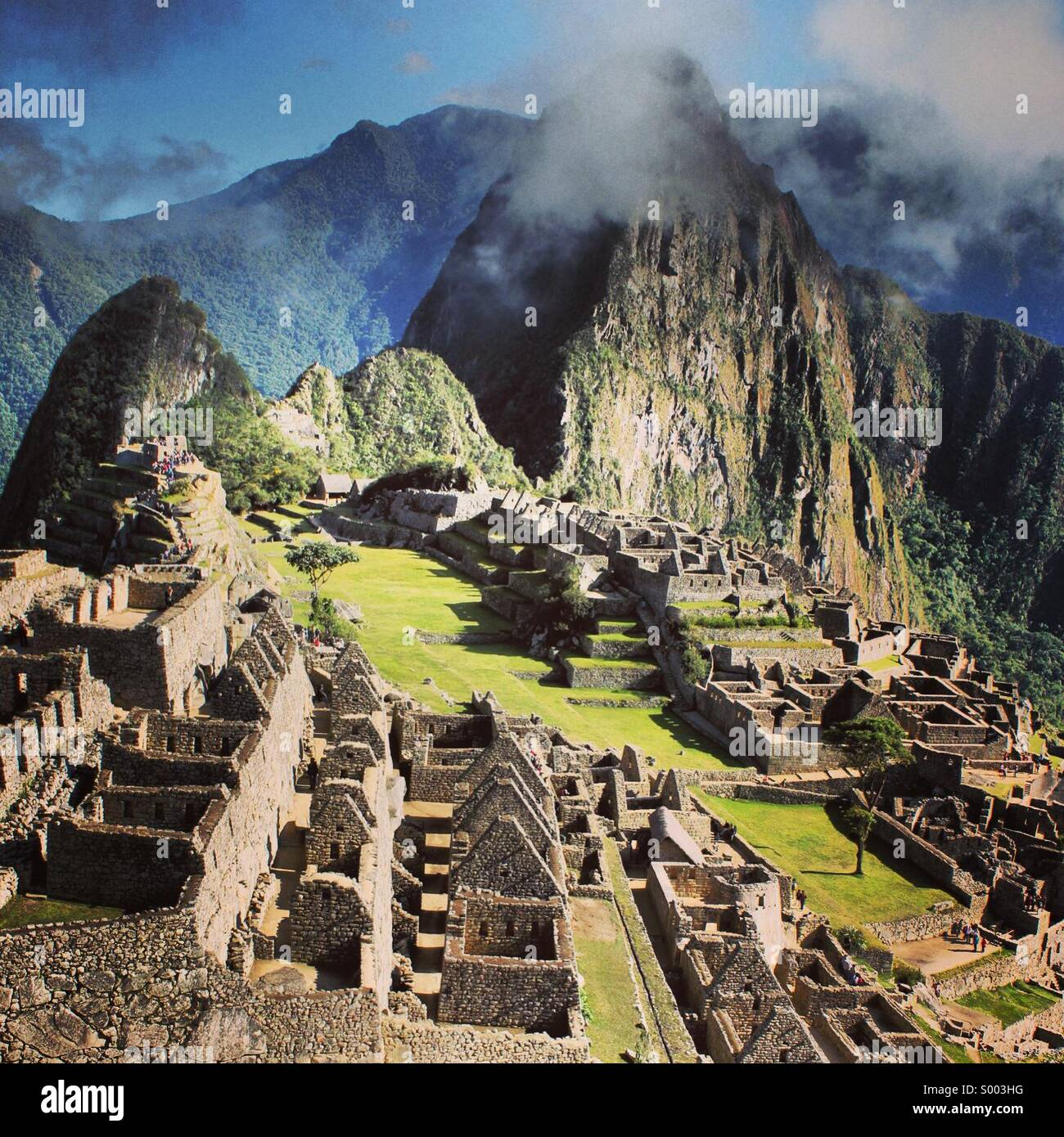 Machu Picchu, edited with Instagram's X-Pro II filter. - Stock Image