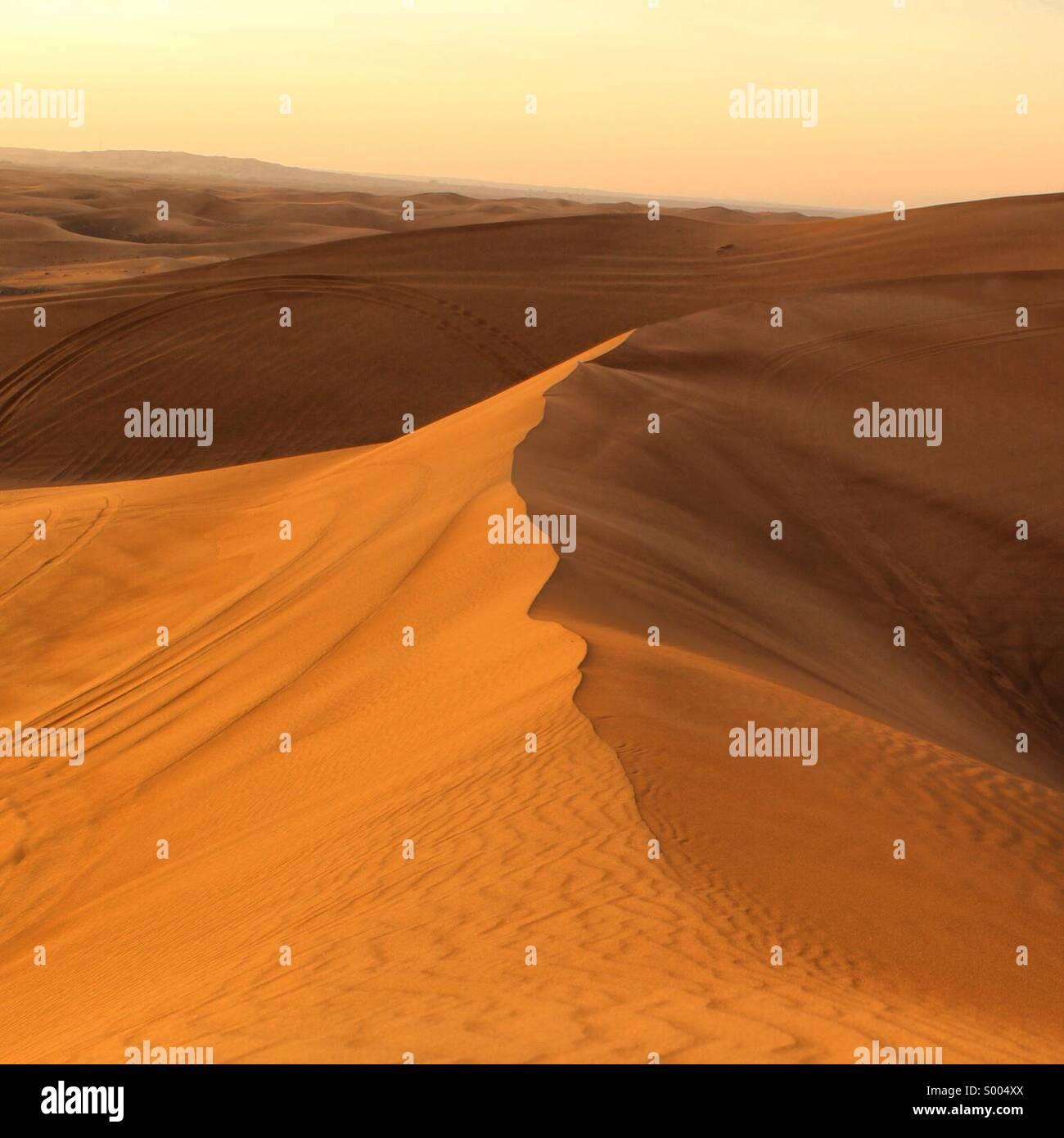 Desert at sunset, Dubai UAE - Stock Image