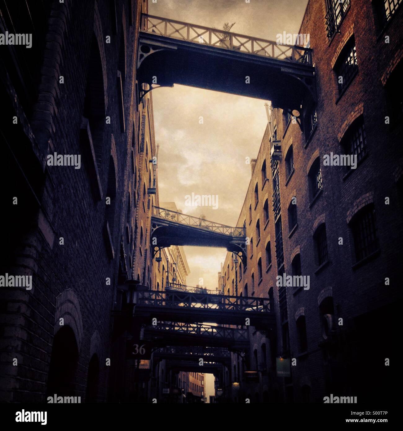 Warehouse buildings in Butler's Wharf London UK - Stock Image