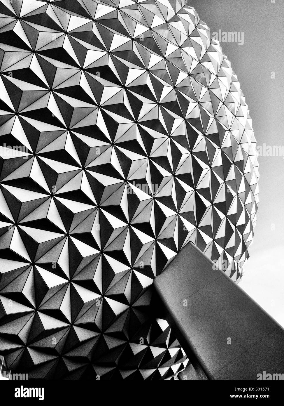 Outside of the 'Spaceship Earth' ride at Epcot in Disney World, Orlando, Florida, USA. - Stock Image