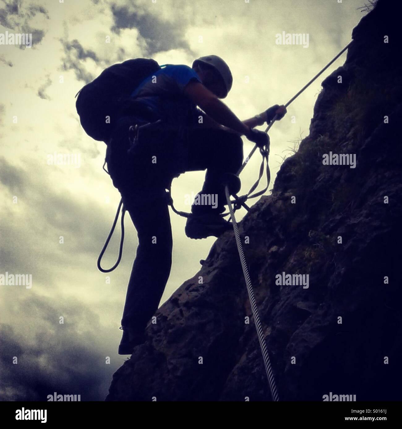 Mountain Climber, Via Ferrata, Dolomites, Italy. - Stock Image