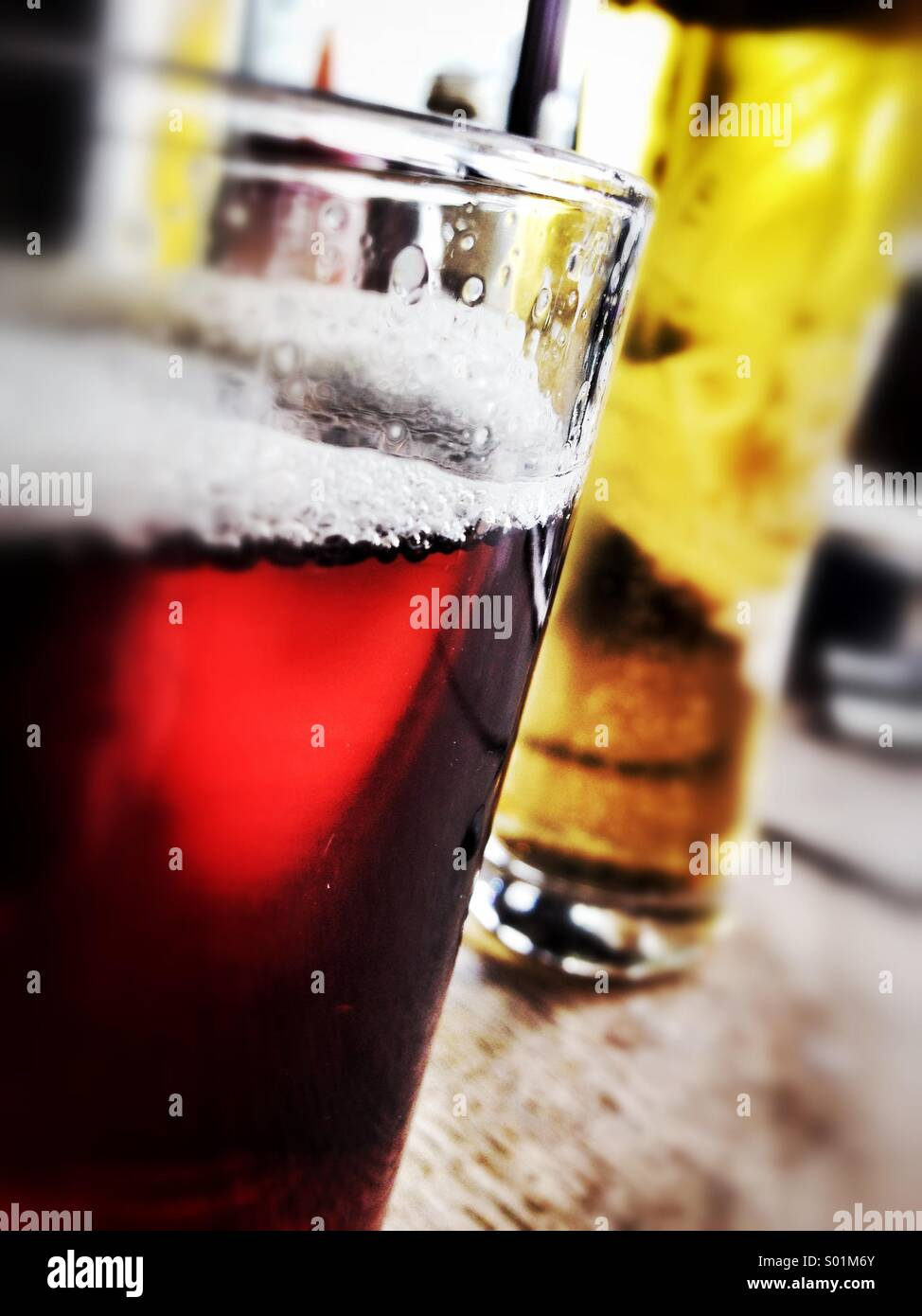 Beer and Lager in An English pub - Stock Image
