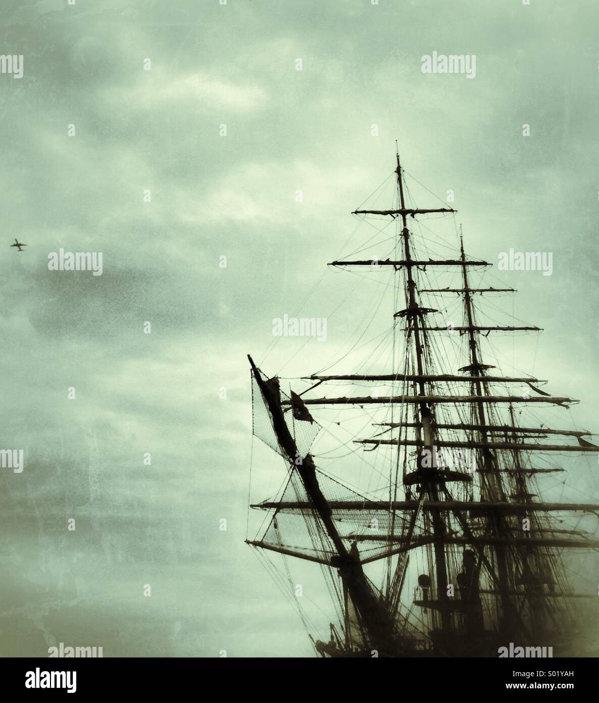 Tall ship and plane - Stock Image