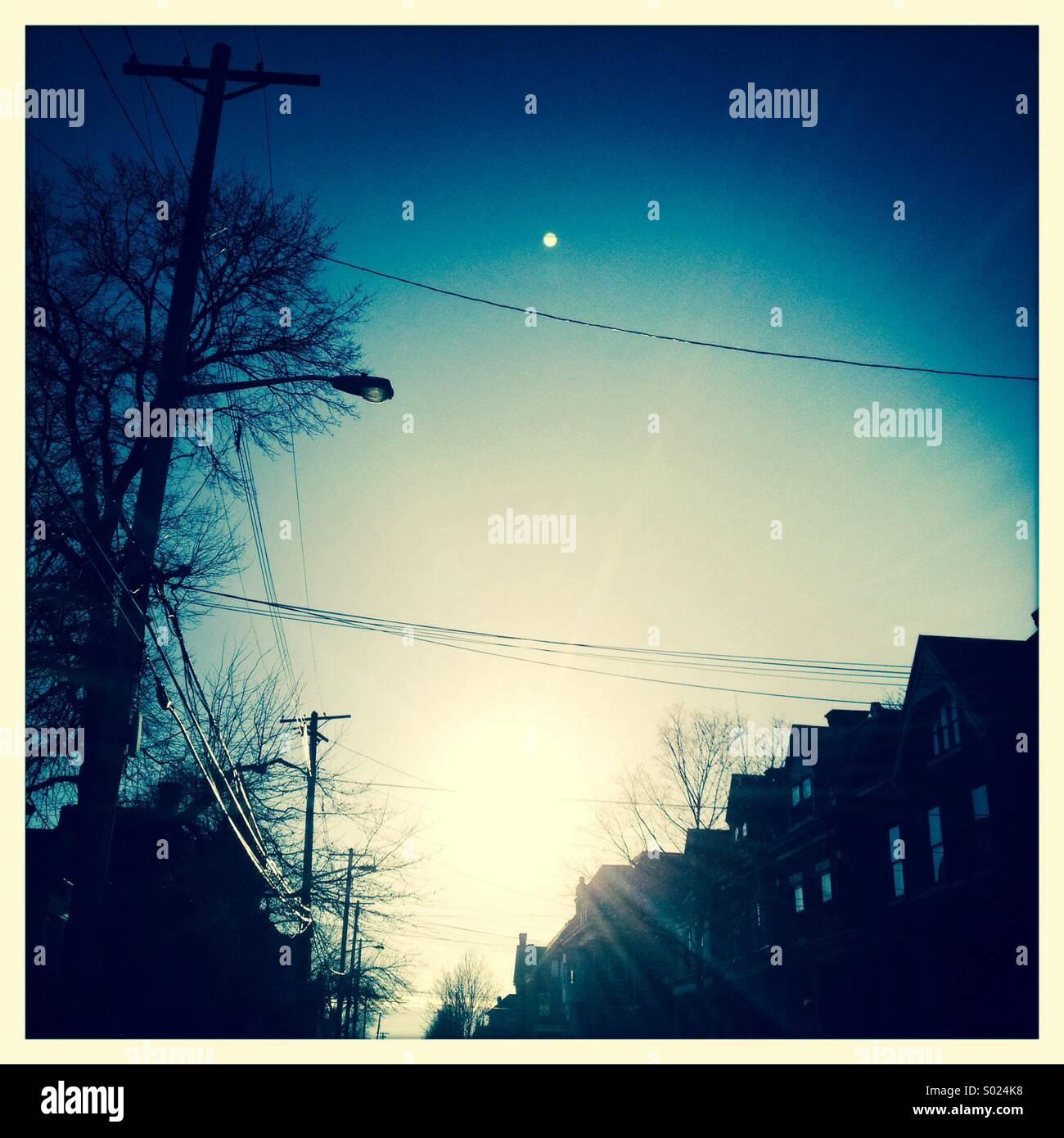 Sunrise and Stars - Stock Image