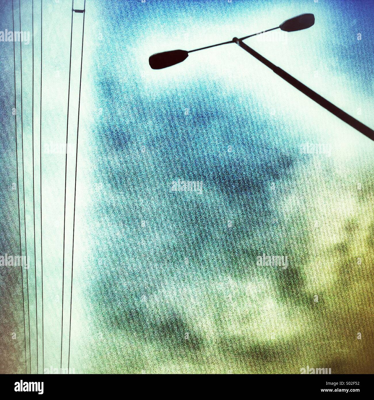 Street Light and Power Lines - Stock Image