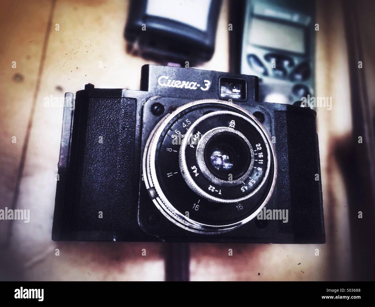 Camera of my dad, one of the oldest he has. - Stock Image