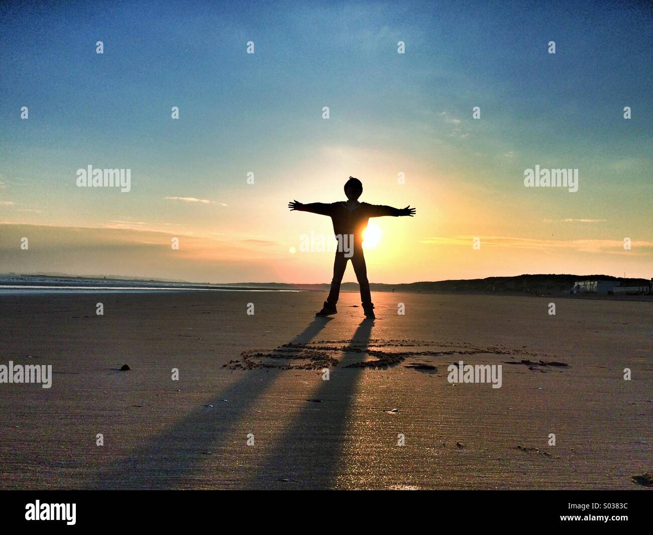 Sunset boy - Stock Image