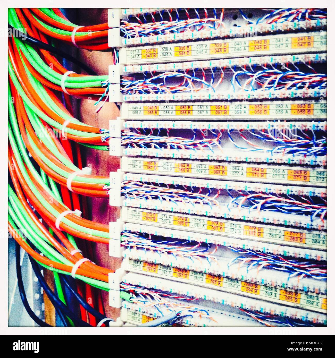 Telecommunications switch board - Stock Image