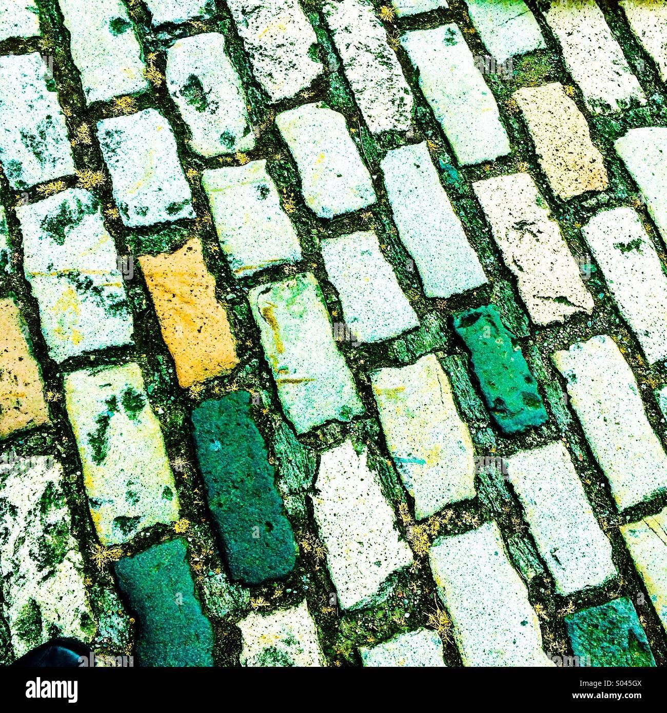 Green brick road - Stock Image