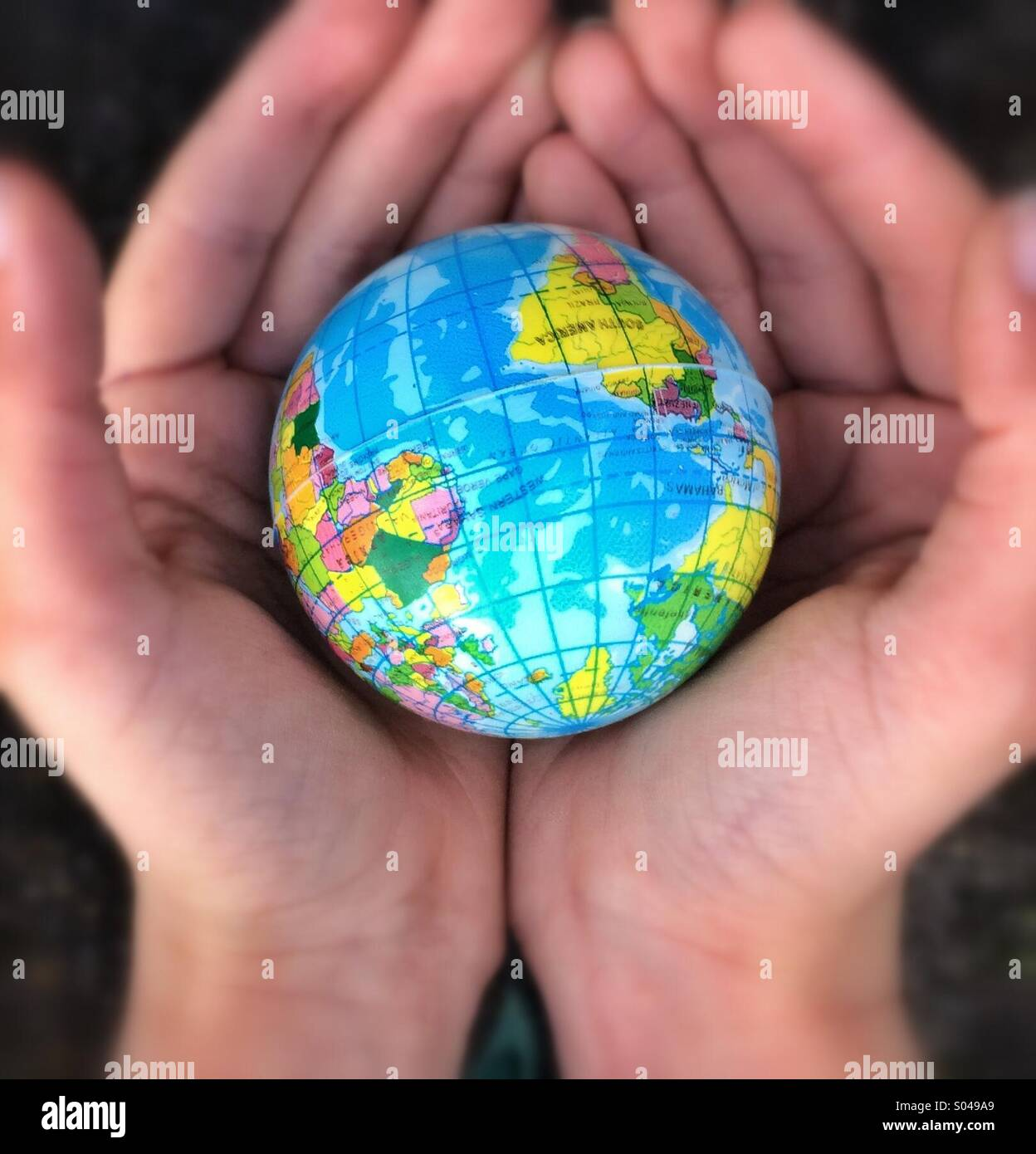 The whole world in our hands - Stock Image