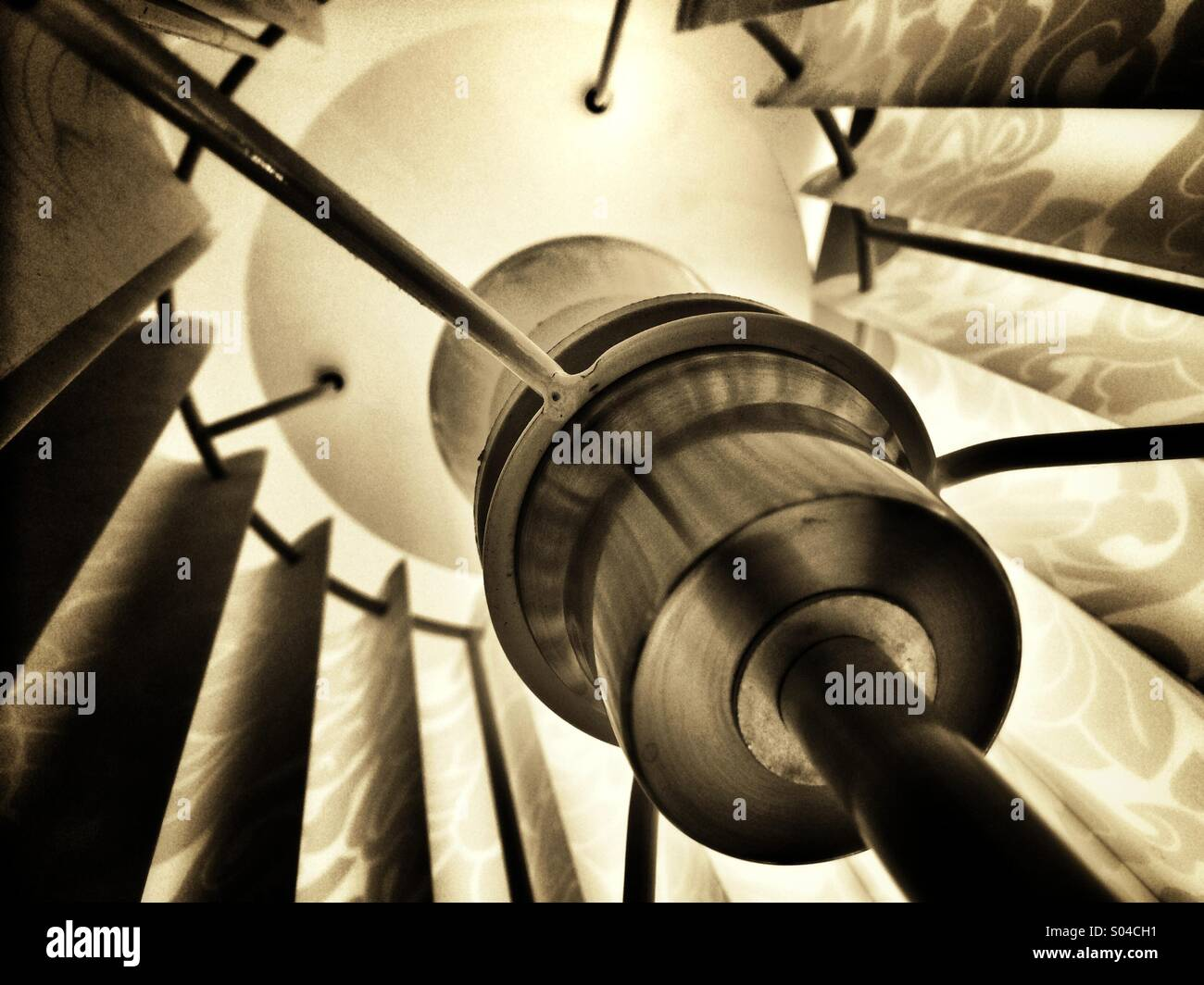 View inside a lampshade - Stock Image