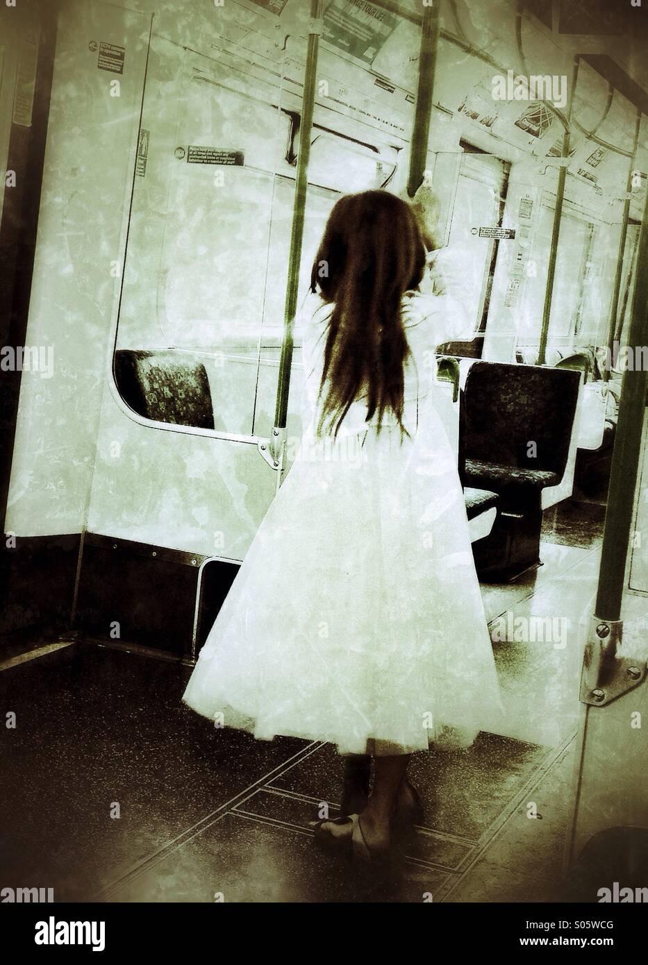 Girl on train - Stock Image