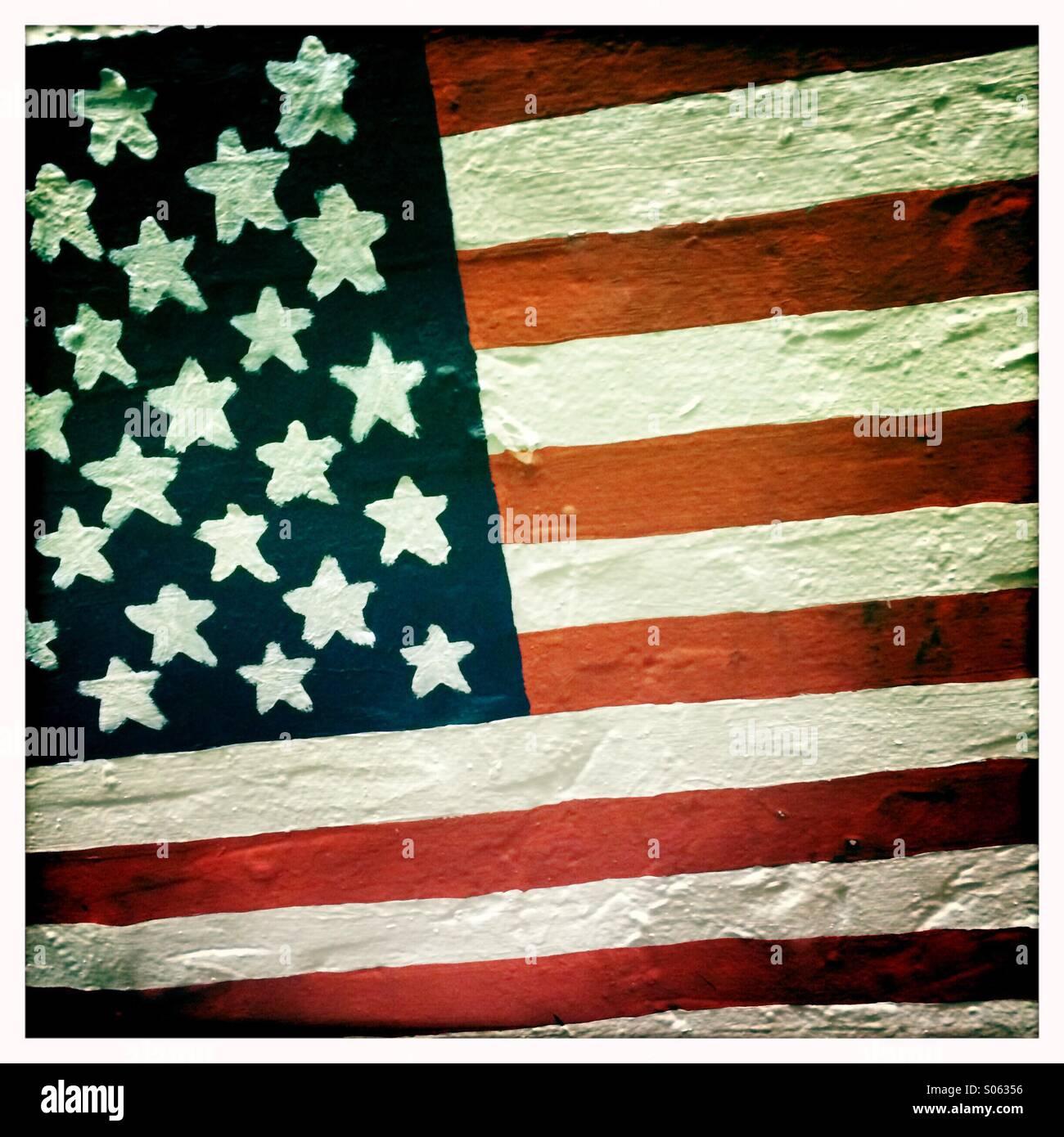 Graffiti American flag - Stock Image