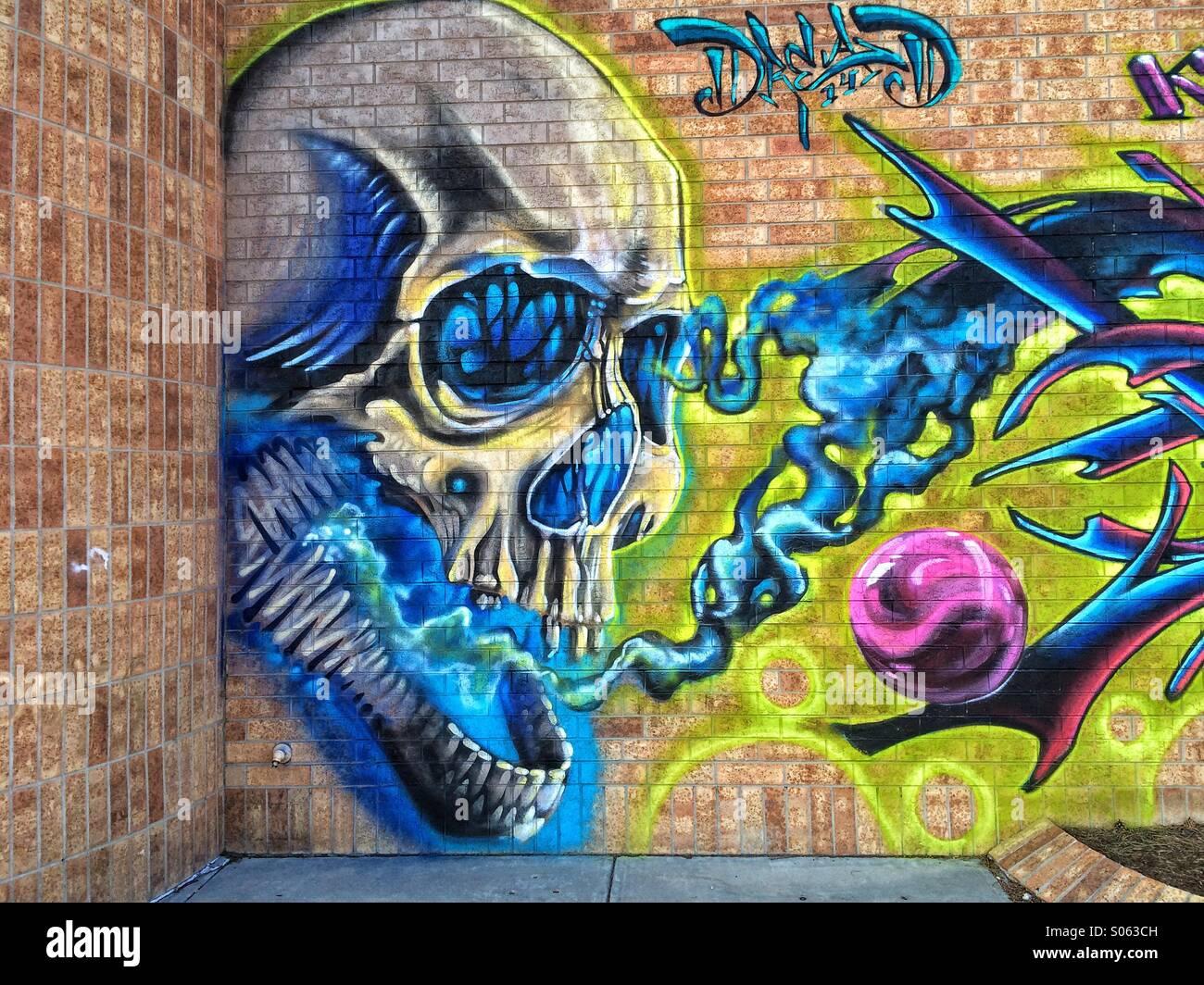 Skull graffiti on a brick wall