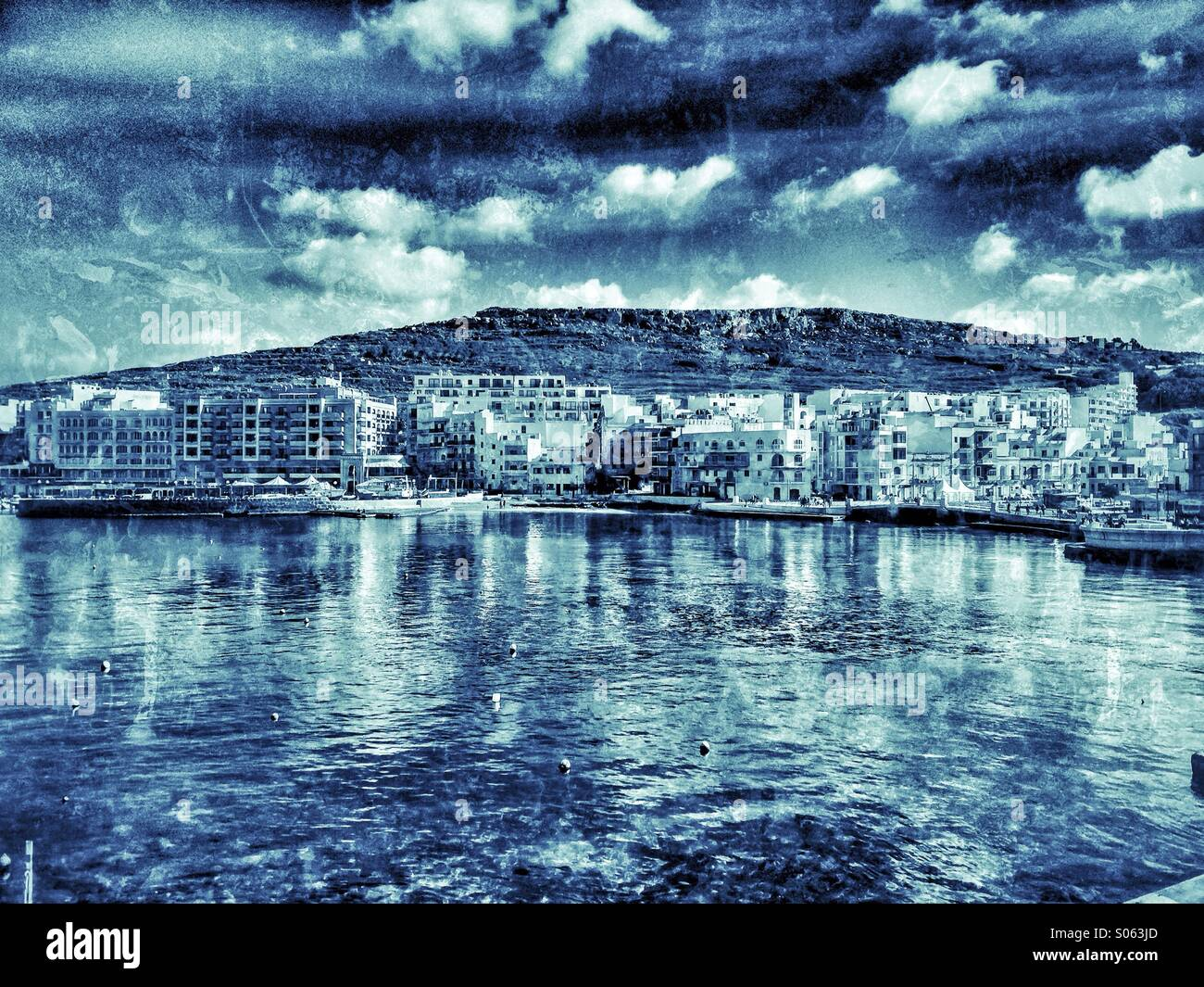 Marsalforn bay early in the year - Stock Image