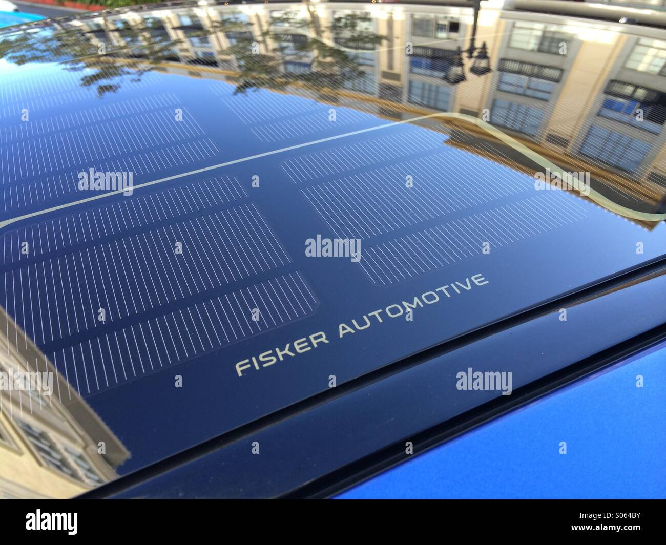 Solar Panel On The Roof Of A Fisker Car Stock Photo