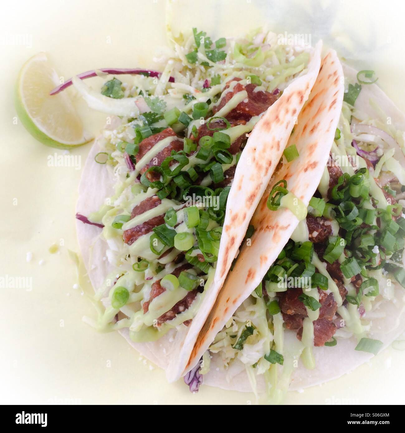 Fish tacos from Fishbox food truck in Portland Oregon - Stock Image