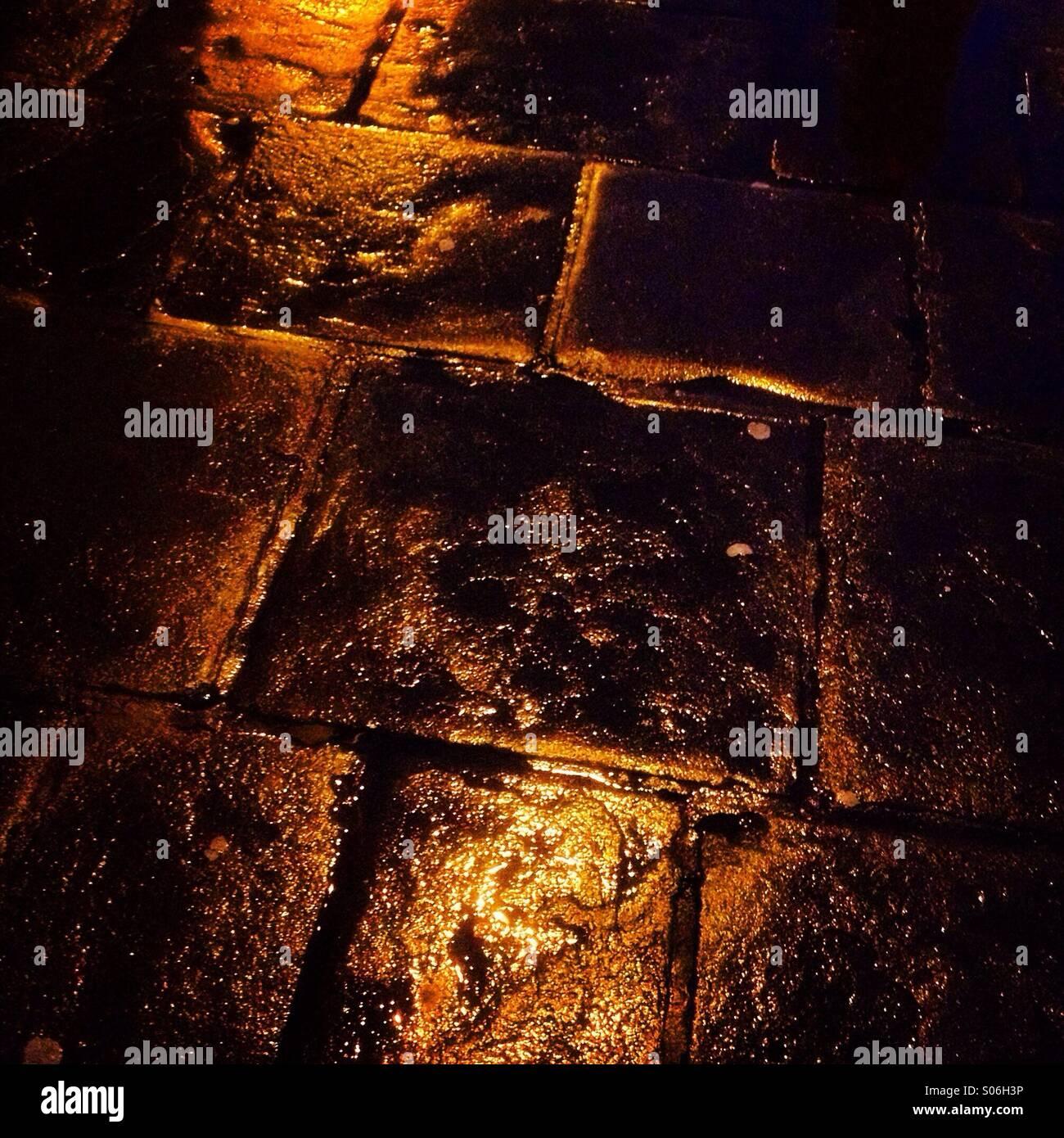 Golden brick road - Stock Image