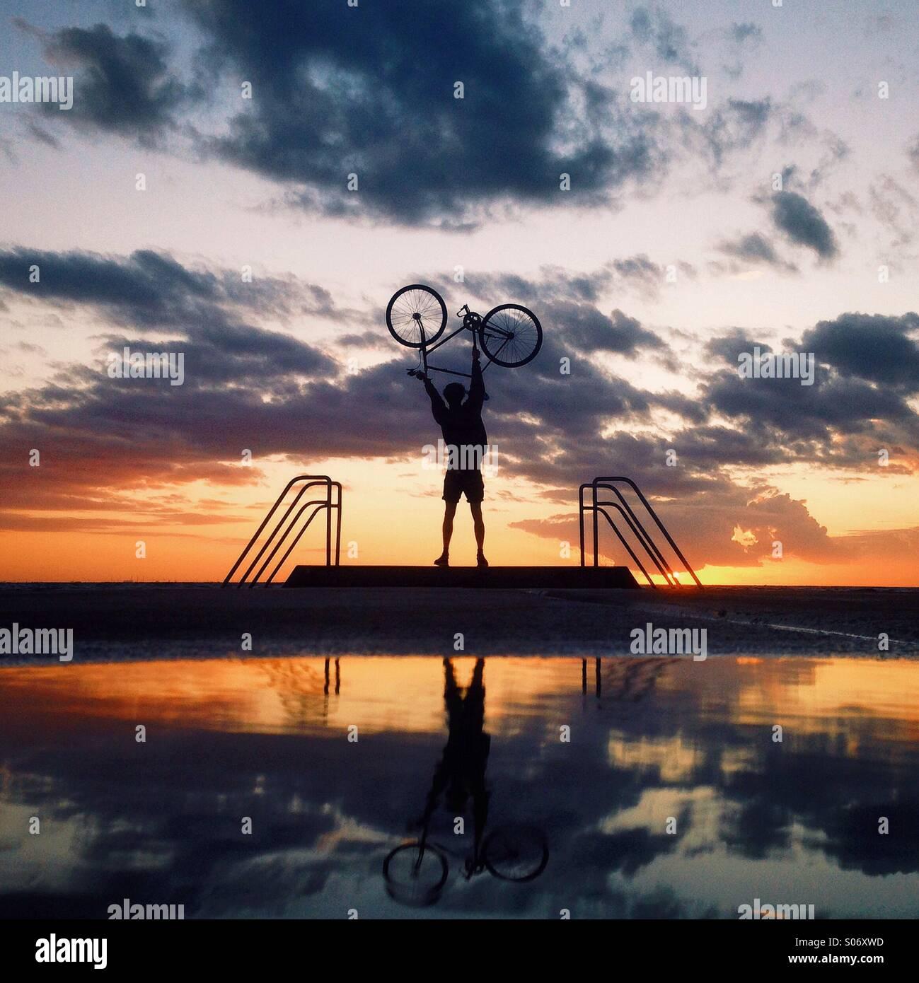 Sunset reflection. - Stock Image