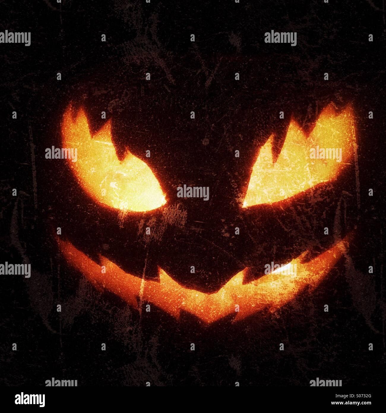 Scary pumpkin jack o lantern head for Halloween - Stock Image