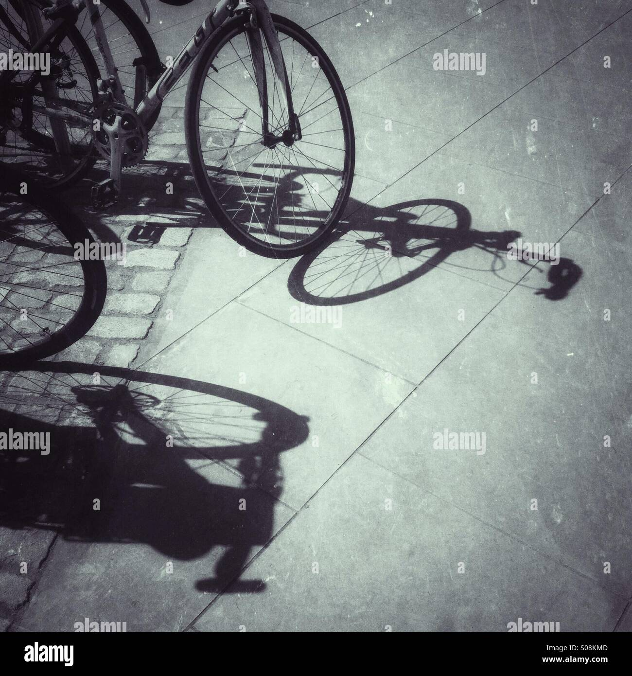 Bicycle silhouettes - Stock Image