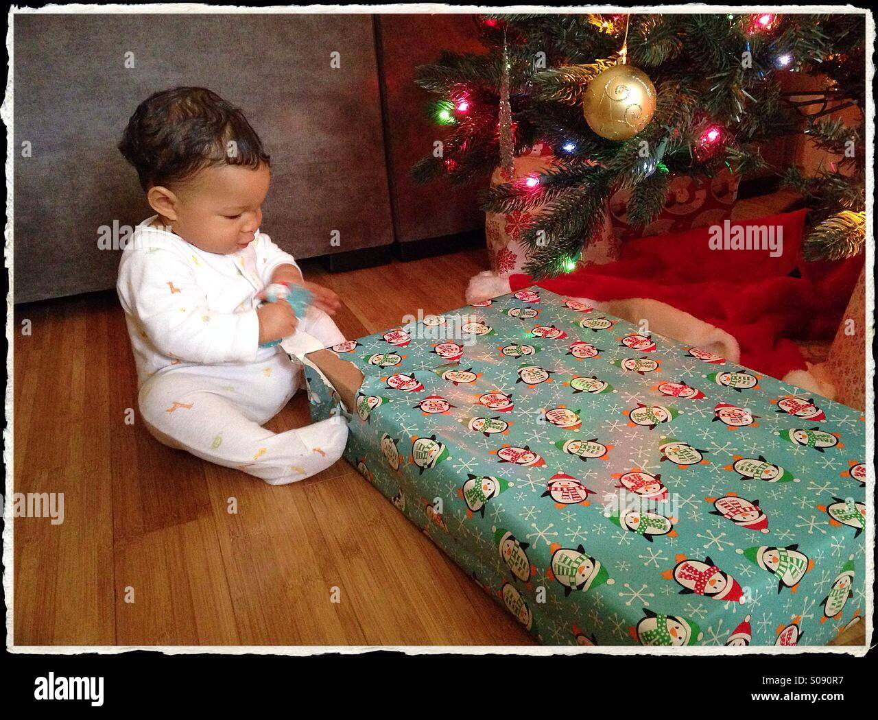 Baby's First Christmas - Stock Image