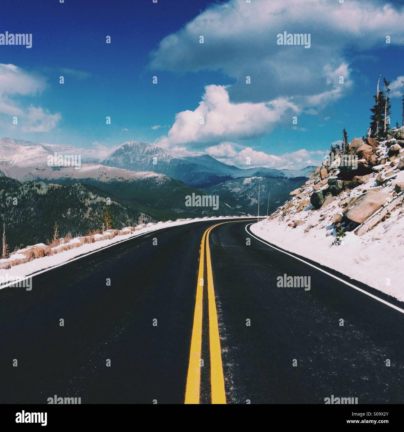 Mountain Road in Colorado - Stock Image