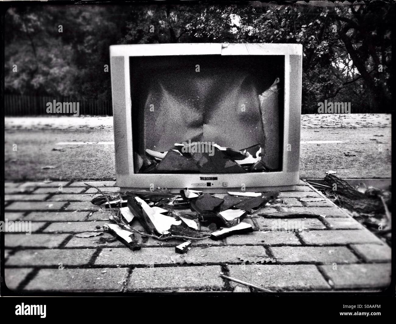 Tv and destruction - Stock Image