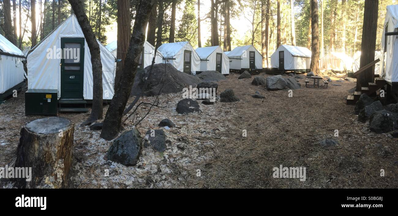 Tent Cabins In Curry Village Yosemite National Park California Usa   Stock  Image